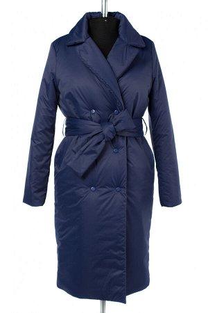 04-2664 Куртка демисезонная (синтепон 200) (пояс) Плащевка синий