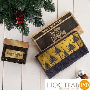 "Набор махровых полотенец ""Merry christmas"" 30х70 см - 2 шт, 100% хлопок, 370 гр/м2 5120722"