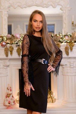 Платье Размер: 44 / 46 / 48 Трикотажное платье с прозрачными рукавами выполнено из интересной сетчатой ткани! Красивый и утонченный вечерний наряд, позволяет наслаждаться роскошным безупречным видом.