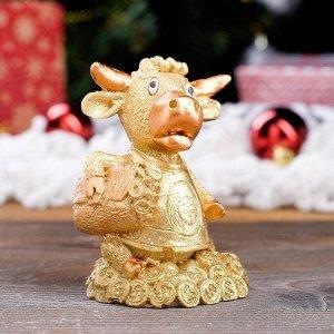 """Статуэтка """"Бык в майке"""", символ года 2021,золотистый, 9 см, полистоун"""