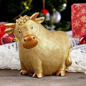 """Копилка """"Корова"""", золотистый, 18 см"""