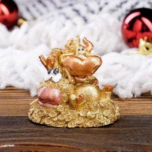 """Статуэтка """"Бык с золотой рыбкой"""", символ года 2021,золотистый, 5 см, полистоун"""