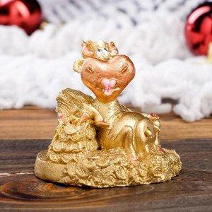 """Статуэтка """"Корова с кошельком"""", символ года 2021,золотистый, 6 см, полистоун"""