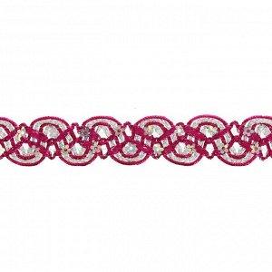 Тесьма, в рулоне 10 м, цвет фуксии с серебром