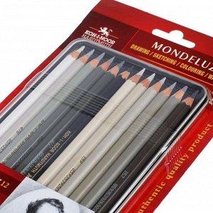 Карандаши акварельные Koh-I-Noor Mondeluz 3722, 12 штук, серая гамма, в металлическом пенале в блистере