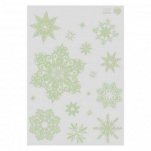 Светящаяся наклейка «Снежинки», 21 х 29,7 см