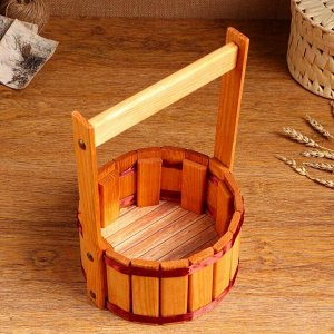 """Кашпо деревянное """"Прованс"""", с лентой, h = 10, hh = 28 см, d = 19 см"""