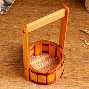 """Кашпо деревянное """"Прованс"""", с лентой, h = 8, hh = 28 см, d = 15 см"""