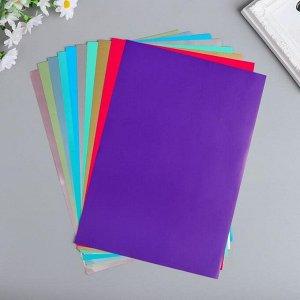 """Цветная бумага """"Яркие тропики"""" двусторонняя, мелованная набор 10 шт А4"""