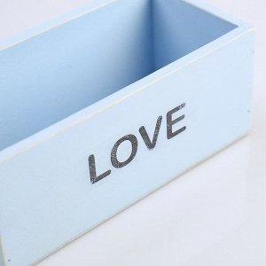 """Кашпо деревянное 20?10?8 см """"Элегант, LOVE"""", голубое"""