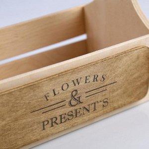 """Кашпо деревянное 21?12?22(7) см """"Таёжный дух"""", Flowers & Presents"""