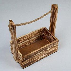 """Кашпо деревянное 25.5?15?30 см """"Аром"""", ручка канат, натуральное"""