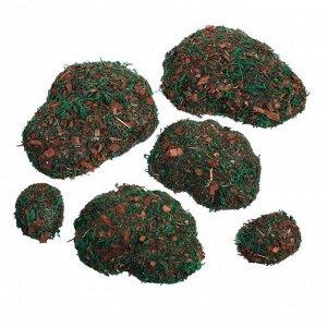 Мох искусственный «Камни», с тёмной корой, набор 6 шт.