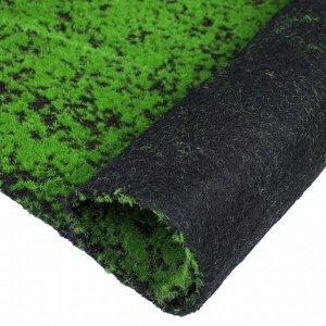 Мох искусственный. декоративный. полотно 1 ? 1 м. зелёный на чёрном