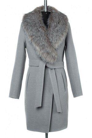 02-2959 Пальто женское утепленное (пояс) Кашемир серый