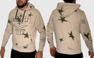 Бежевая мужская толстовка Born Fly – свободный Street Style и модная защита от холода №76