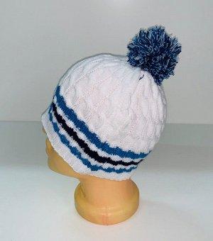 Шапка Белая шапка с синими полосками и помпоном  №1705