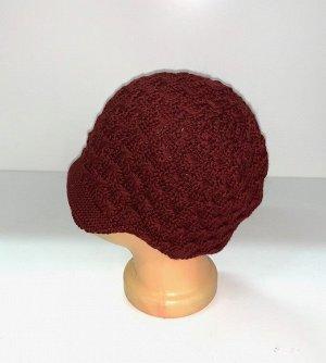 Шапка Бордовая оригинальная шапка  №1518