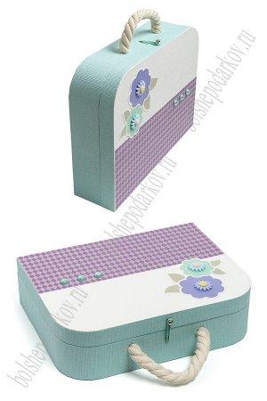 Подарочная коробка-чемоданчик 30,5*23,5*8,3 см (SF-5676) аквамариновый