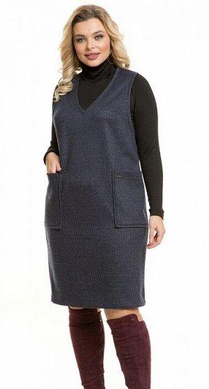 Сарафан 1081 серо-синий