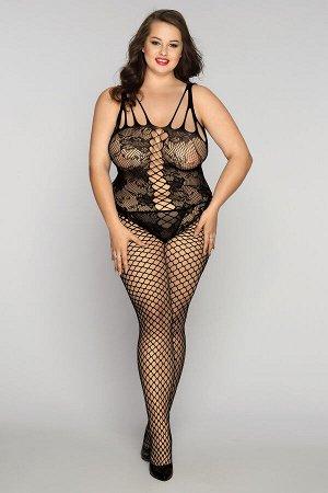 Костюм-сетка и стринги Candy Girl Kasandrah черные, 2XL