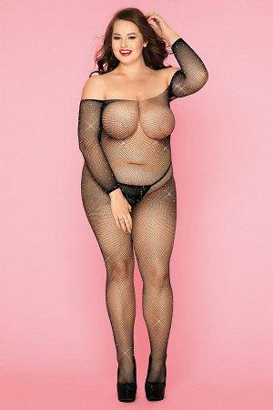 Костюм-сетка со стразами и стринги Candy Girl Jewelle черные, 2XL