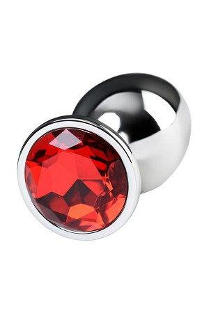 Анальная втулка Metal by TOYFA, металл, серебристая, с кристаллом цвета рубин, 9,5 см, ? 4 см, 420 г