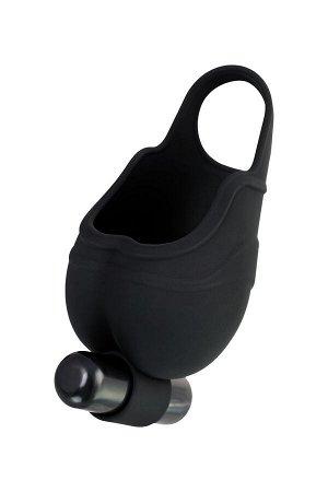 Чехол для мошонки с эрекционным кольцом и вибрацией Attraction Erotist, силикон, чёрный, ? 2,6 см