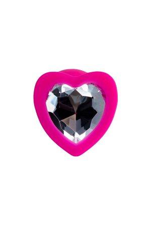Анальная втулка ToDo by Toyfa Diamond Heart, водонепроницаемая, силикон, розовая, 7 см, ? 2 см