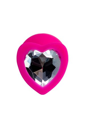 Анальная втулка ToDo by Toyfa Diamond Heart, водонепроницаемая, силикон, розовая, 8 см, ? 3 см