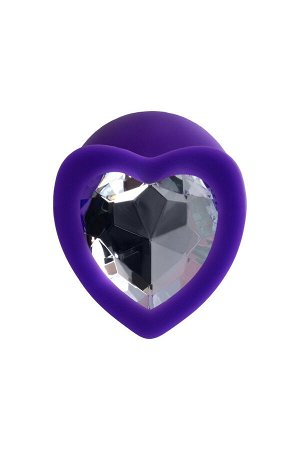 Анальная втулка ToDo by Toyfa Diamond Heart, водонепроницаемая, силикон, фиолетовая, 8 см, ? 3 см