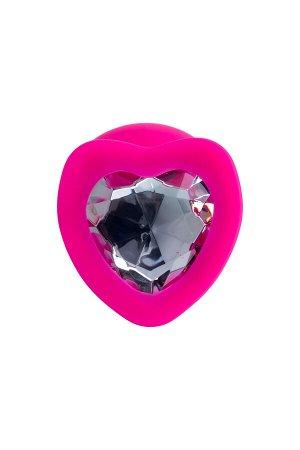 Анальная втулка ToDo by Toyfa Diamond Heart, водонепроницаемая, силикон, розовая, 9,5 см, ? 4 см