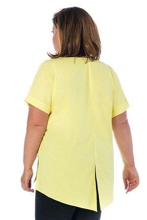 Туника Материал: Искусственный шелк; Цвет: Желтый; Фасон: Блузка; Длина рукава: Короткий рукав Блузка спущенный рукав с надписью на груди желтая Летняя молодежная блузка полуприлегающего силуэта выпол
