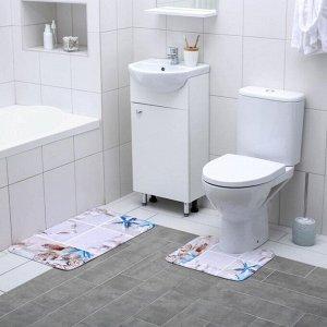 Набор ковриков для ванны и туалета Доляна «Морская бутыль», 2 шт: 40?45, 45?75 см