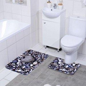 Набор ковриков для ванны и туалета Доляна «Галька», 2 шт: 40?50, 50?80 см