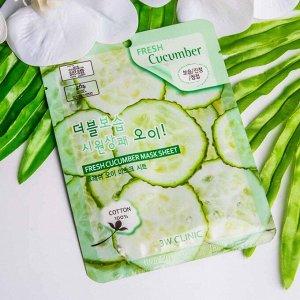 Маска-салфетка для лица с экстрактом огурца 3W Clinic Fresh Cucumber Mask Sheet