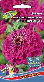 Цветы Цинния Иллюминация георгиноцветковая (УД) (70 см,соцветия 12 см,ярко-желтые)