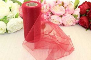 Фатин на шпульке (темно-красный), 15 см * 25 ярдов(+-2м)