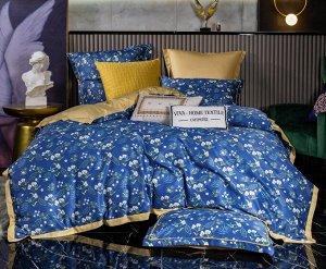 Комплект постельного белья Сатин Роял Тенсель на резинке TSR001 Евро 4 наволочки