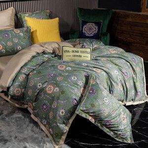 Комплект постельного белья Сатин Роял Тенсель на резинке TSR007