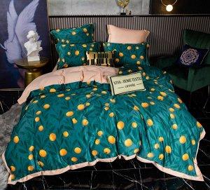 Комплект постельного белья Сатин Роял Тенсель на резинке TSR005 2 спальный 4 наволочки