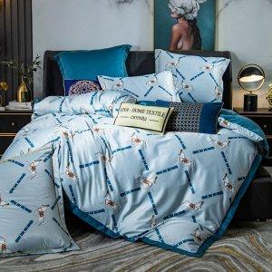 Комплект постельного белья Сатин Роял Тенсель на резинке TSR002 2 спальный 4 наволочки