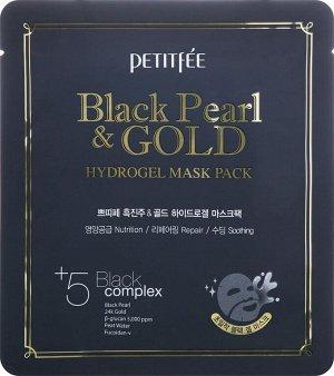 Petitfee Black Pearl Gold Hydrogel Mask Pack Гидрогелевая маска для лица с чёрной жемчужной пудрой и