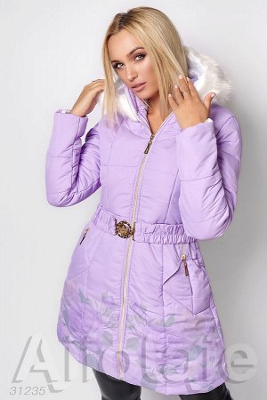 Лиловая куртка со съёмным капюшоном