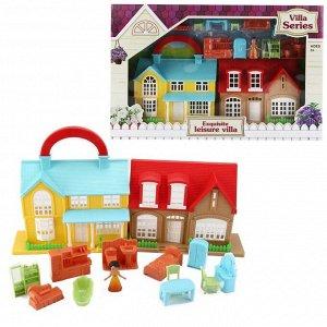 Дом кукольный, с мебелью и человечками, складной10
