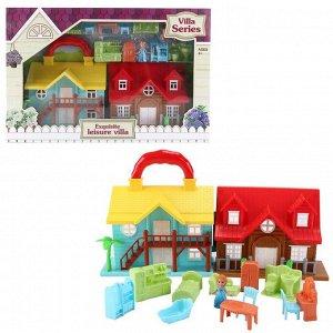 Дом кукольный, с мебелью и человечками, складной15