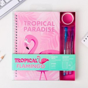 Блокнот со скотчем и ручкой Tropical paradise