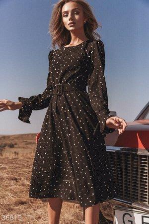 Платье-миди в гороховый принт