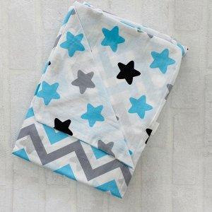 Пододеяльник полуторный комбинированный Зигзаг с синим \Белый звёзды