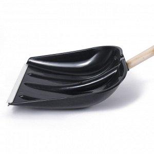 Лопата пластиковая, ковш 410 ? 415 мм, с металлической планкой, деревянный черенок, с ручкой